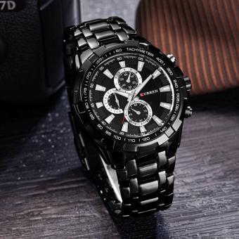 CURREN 8023 men watches quartz watch waterproof black white gold - 5