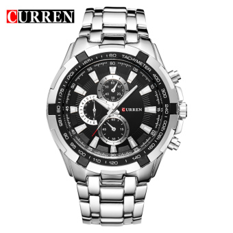 CURREN 8023 men watches quartz watch waterproof silver black