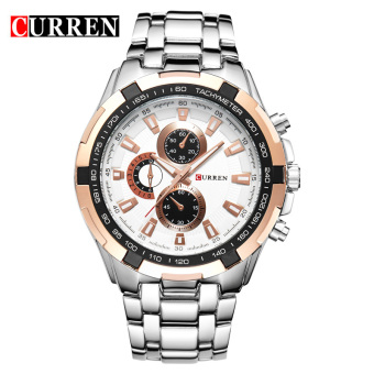 CURREN 8023 men watches quartz watch waterproof silver black - 5