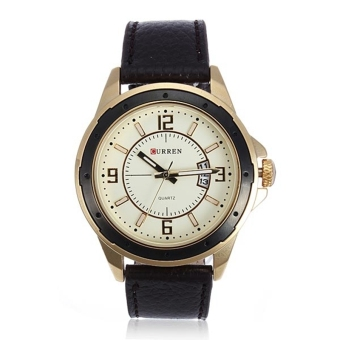 CURREN 8124 Men's Black Leather Round Quartz Wrist Watch