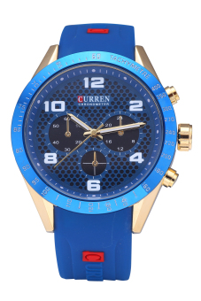 Curren 8167 Top Brand Men Waterproof Imported Quartz MovementFashion Silicone Wristwatches Gold Shell Blue Surface