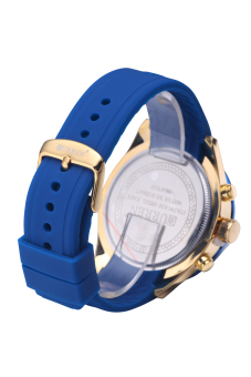 Curren 8167 Top Brand Men Waterproof Imported Quartz MovementFashion Silicone Wristwatches Gold Shell Blue Surface - 4