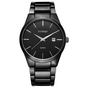CURREN Black Stainless Steel Analog Display Date Men's Quartz WatchBusiness Watch
