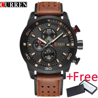 CURREN brand top new fashion casual quartz wrist watch men leather leather strap round Quartz Water Resistant 30m 8250 - intl