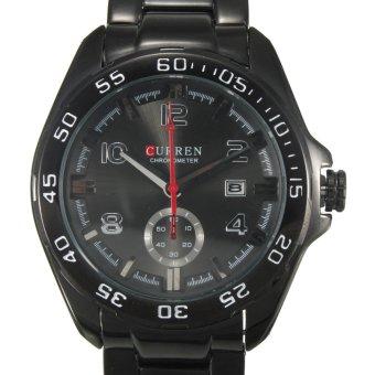 Curren Fashion Black Men's Stainless Steel Date Military Sport Quartz Watch