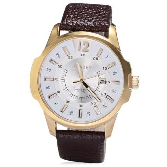 Curren Leather Strap Unisex Watch 8123 (Brown/Gold/White)