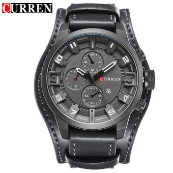 Curren Leather Strap Unisex Watch 8225 (Grey/Black/Black)