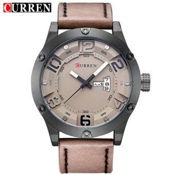 Curren Leather Strap Unisex Watch 8251 (Brown/Black/Grey)