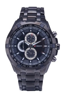Curren Men's Stainless Steel Strap Watch 8023 Black - Intl