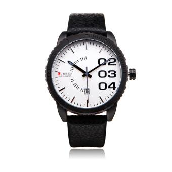 Curren Men's Black Leather Strap Watch 8125