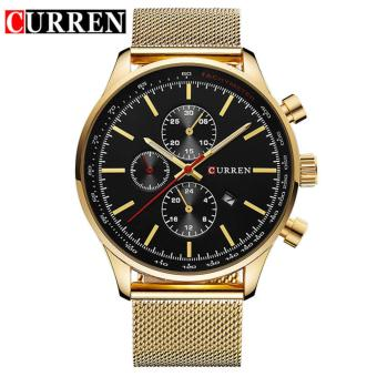 Curren Stainless Steel Strap Unisex Watch 8227 (Gold/Black)