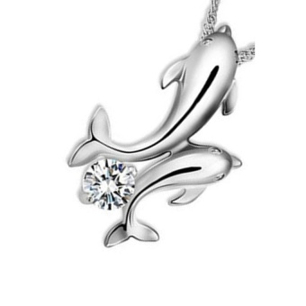 Cute 925 Silver Double Dolphin Rhinestone Short Chain PendantNecklace - intl