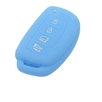 CV4107LB Silicone Cover Holder Fit for HYUNDAI ix45 Santa Fe 4Button Flip Remote Key (Light Blue) (Intl)