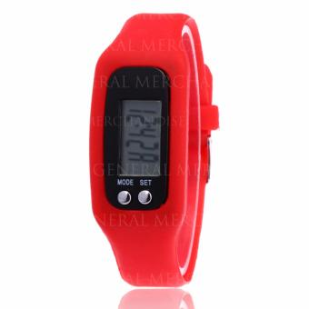 CWL Digital LCD Pedometer Bracelet Walking Distance Calorie Counter Watch (Red) - 3