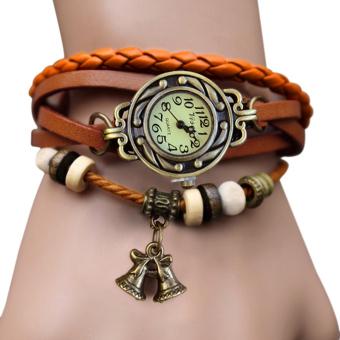 Cyber Bell Pendant Women's Weave Wrap Bracelet Wrist Watch (Orange)