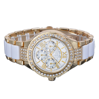 Cyber Fashion Quartz Crystal Women Wrist Watch ( White )