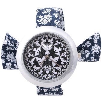 Cyber Girl Floral Cloth Fabric Band Lace Up Bracelet Watch (Black)