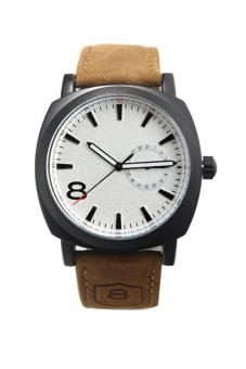 Cyber Leather Strap Men Quartz Wrist Watch (White)