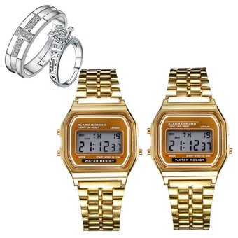 D&D AMD-1 Gold Ultrathin Multifunction Digital Electronic Watch Set of 2 With PY-1 Opened Couple Rings
