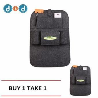 D&D Automobile Seat Back Suspension Vehicle Bag Bag In The Car Auto Supplies Storage Bag(Grey)/ buy One take One