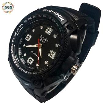 D&D C805 Fashion Men Black Silicone Strap Sport Quartz Wrist Watch