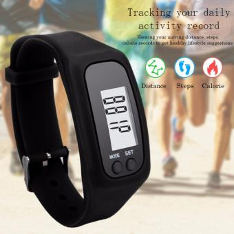 D&D Fashion Digital LCD Pedometer Run Step Walking Distance Calorie Counter Watch Bracelet Black