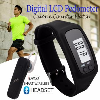 D&D Fashion Digital LCD Pedometer Run Step Walking DistanceCalorie Counter Watch Bracelet with IPEGA Smart Wireless BluetoothHeadset