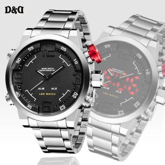 D&D LED Display Men's Silver/Black Stainless Steel WatchOS-AD1608