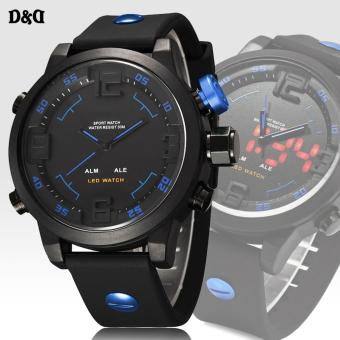 D&D Military Digital Men's Blue/Black Rubber Strap Watch OS-AD2820