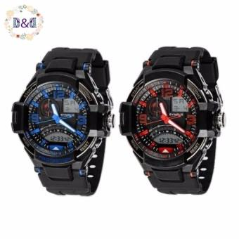 D&D SNK-67876DD Men's Multifunctional Diving Digital LED Outdoor Sports Rubber Strap Watch (Blue/Red) Bundle