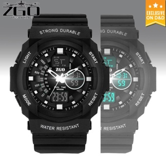 D&D ZGO Men's LED Digital Outdoor Wristwatch Sports Electronic Watch (BLACK)