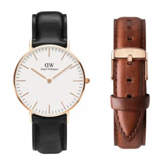 Daniel Wellington Classic Sheffield 36mm Rosegold Watch with St. Mawes Strap Set