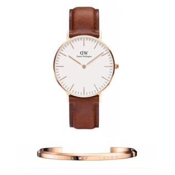 Daniel Wellington Classic St. Mawes 36mm Rosegold Watch and DW Cuff Rosegold Small