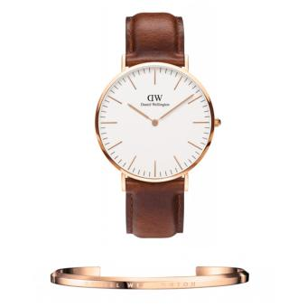 Daniel Wellington Classic St. Mawes 40mm Rosegold Watch and DW Cuff Rosegold Large