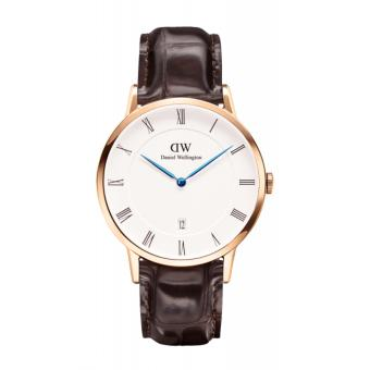 Daniel Wellington Dapper York Rose Gold 38mm White Dial Croc DarkBrown Leather Watch