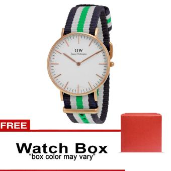 Daniel Wellington Multicolor Strap Unisex Watch 004 (White/Green)with FREE Box (Color May Vary)