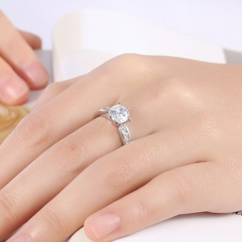 Dazzling CZ Crystal 10K White Gold Filled Cubic Zirconia GemstoneSilver Women's Wedding Bridal Engagement Matching Band Ring - intl
