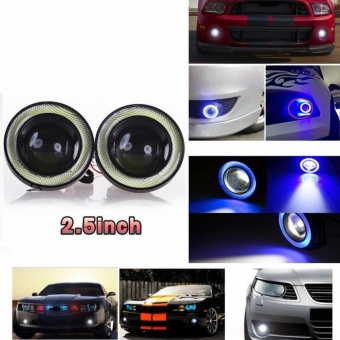 DC 12V 2pcs DRL Projector Lens Angel Eye COB Halo Ring Blue LED FogDriving Light Car Auto SUV Light Lamps With Brackets - intl