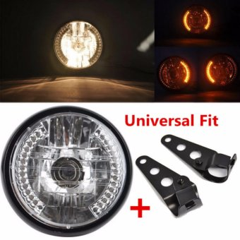 DC 12V Motorcycle Bike LED Headlight HeadLamps Turn Signal Indicator Light With Mount Bracket For Bobber Harley Cafe Racer Chopper - intl