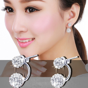 Debutante s925 cool female elegant back hanging earrings sterling silver zircon stud