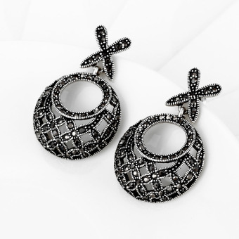 Delicate Circular Antique Silver Crystal Circle Earring Fashion Accessories - picture 2