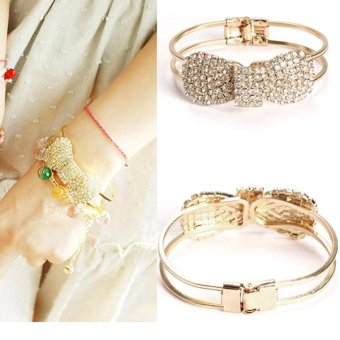 Delicate Golden Bow Full Rhinestone Bangle for Women - intl Price Philippines