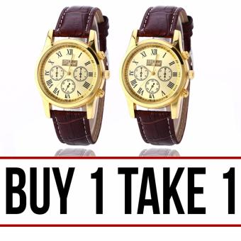 Dgjud Casual Leather Strap Unisex Watch (Brown/Gold) Buy 1 Take 1