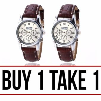 Dgjud Casual Leather Strap Unisex Watch (Brown/Silver) Buy 1 Take 1