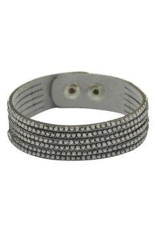 DHS Rhinestone Faux Leather Adjustable Bracelet (Grey) - Intl