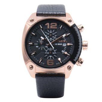 Diesel Overflow Men's Black Leather Strap Watch DZ4297
