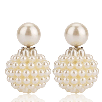 Disco Ball Jewelry Pearl Beads Earrings (White)