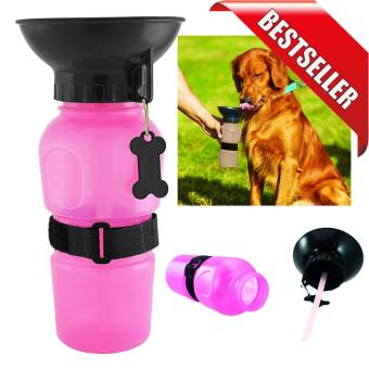 Dog Portable Water Bottle Travel Auto Drinking Bowl Mug (Pink)