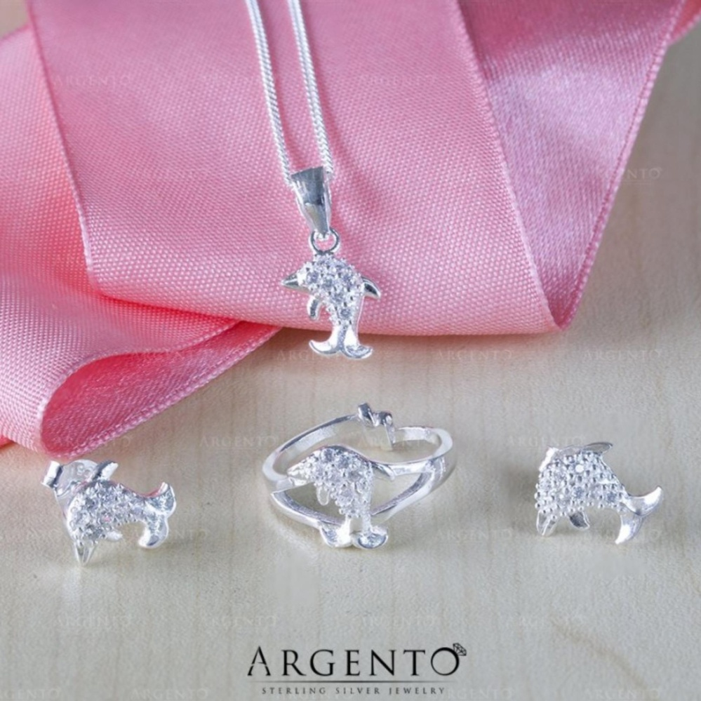 Philippines | Dolphin 925 Silver Earrings, Necklace and Ring Set for ...