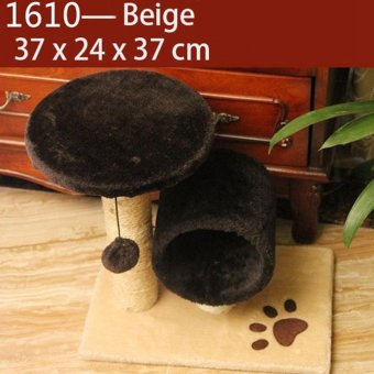 Domestic Delivery Pet Cat Climbing Frame Animal Puppy Double LayersCat Tree Cat Scratching Pet Training Board(1610_Beige) - intl